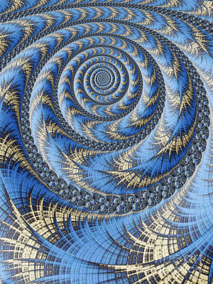 Fantasy Digital Art - Spiral in Blue by John Edwards