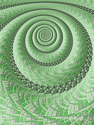 Artistic Digital Art - Spiral In Green by John Edwards
