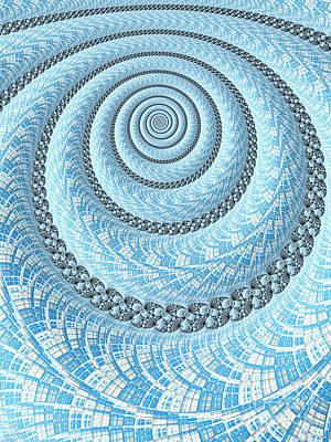 Curves Digital Art - Spiral In Light Blue by John Edwards