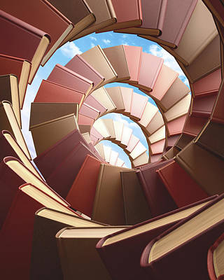 Large Group Of Objects Photograph - Spiral Of Books by Ktsdesign