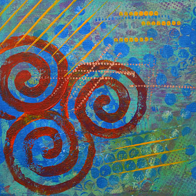 Abstract Movement Mixed Media - Spiral Series - Stance by Moon Stumpp