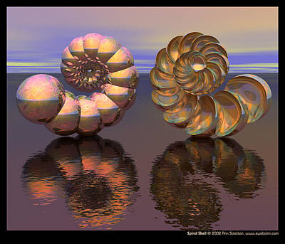 Pearlescent Digital Art - Spiral Shell  by Ann Stretton