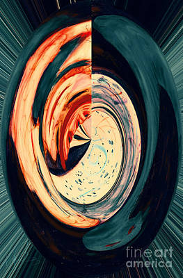 Frida Mixed Media - Spiral Sphere Sneaky Reflection by Frida Morris