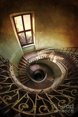 Metal Fish Art Photograph - Spiral Staircaise With A Window by Jaroslaw Blaminsky