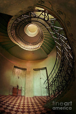 Tile Composition Photograph - Spiral Staircaise With Two Doors by Jaroslaw Blaminsky