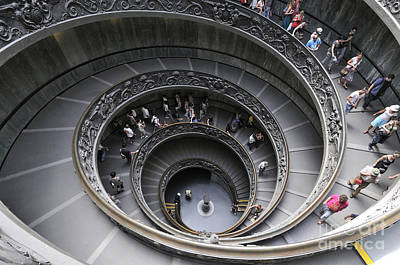 Spiral Staircase By Giuseppe Momo At The Vatican Museum. Rome. Italy Art Print by Bernard Jaubert