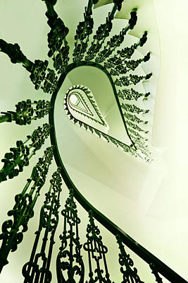 Spiral Staircase In Green Art Print