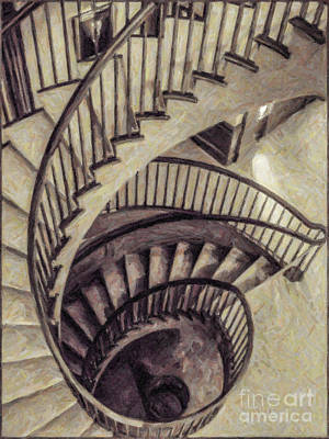 Digital Art - Spiral Staircase by Liz Leyden
