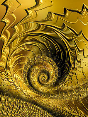 Browns And Golds Digital Art - Spirals And Waves Golden And Glossy Fractal by Matthias Hauser
