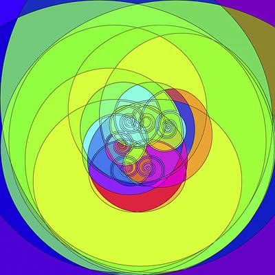 Digital Art - Spirals Hue Shift Cyan To Aaff11 by Gregory Scott