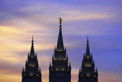 Utah Temple Photograph - Spires by Chad Dutson