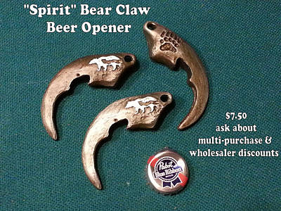 Sculpture - Spirit Bear Bottle Opener by Tim  Joyner