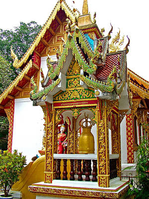 Spirit House At Wat Phrathat Doi Sutep In Chiang Mai-thailand Print by Ruth Hager