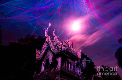 Spirit House In The Supermoon Light Painted Art Print