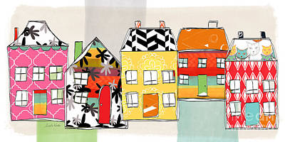 Houses Mixed Media - Spirit House Row by Linda Woods