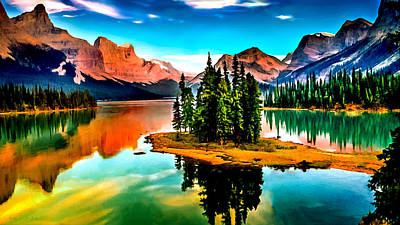 Photograph - Spirit Island On Maligne Lake Jasper National Park by Bob and Nadine Johnston