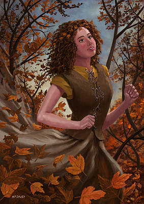 Painting - Spirit Of Autumn Woman by Martin Davey