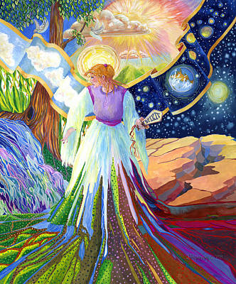 Gods Sunshine Art Painting - Spirit Of God Angel Between Good And Evil by Jacquelin Vanderwood