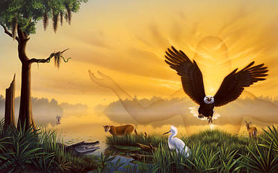 Egret Painting - Spirit Of The Everglades by Jerry LoFaro