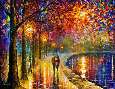 Spirits By The Lake - Palette Knife Oil Painting On Canvas By Leonid Afremov Original by Leonid Afremov