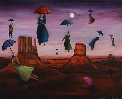 Night Angel Painting - Spirits Of The Flying Umbrellas by Leah Saulnier The Painting Maniac