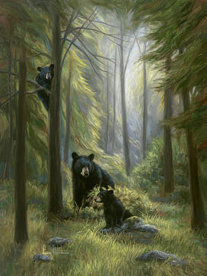 Bear Cub Painting - Spirits Of The Forest by Lucie Bilodeau