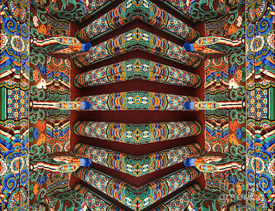 Photograph - spiritual Buddhist architecture abstract photography - Rafter Rapture by Sharon Hudson