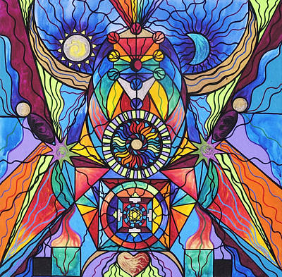 Sacred Geometry Painting - Spiritual Guide by Teal Eye  Print Store