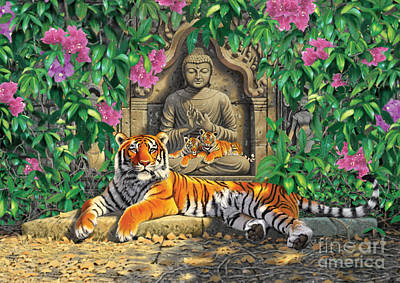 Spiritual Hideaway - Tigers Variant 2 Art Print by Chris Heitt