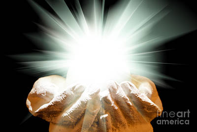 Spiritual Light In Cupped Hands On A Black Background Art Print by Simon Bratt Photography LRPS