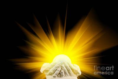 Spiritual Light In Cupped Hands Art Print by Simon Bratt Photography LRPS