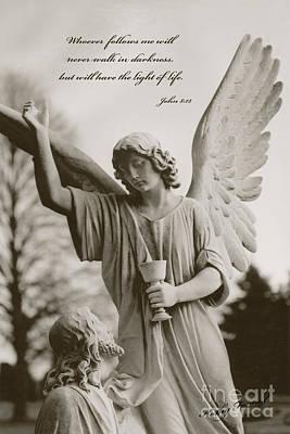 Spiritual Religious Angel Art With Jesus  Art Print