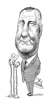 Drawing - Spiro Agnew Caricature by Edmund Valtman