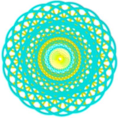 Digital Art - Spirograph Art Aqua Blue Basket by Mary Clanahan