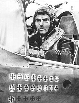 Raf Drawing - Spit Pilot by Patrick Griffin