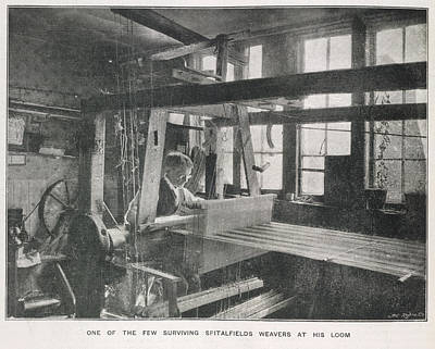 1895 Photograph - Spitalfields Weaver At His Loom by British Library