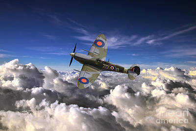 Spitfire Airobatics  Art Print by J Biggadike