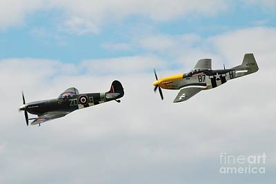 Photograph - Spitfire And Mustang Fighters by David Fowler