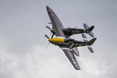 Ferocious Frankie Photograph - Spitfire And Mustang by J Biggadike