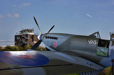 Spitfire At Raf Manston  Art Print by Thanet Photos