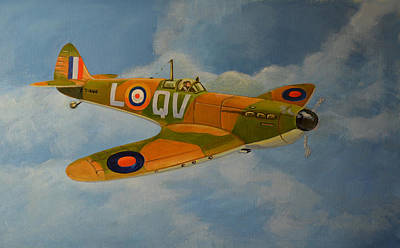 Print featuring the painting Spitfire Mk1a by Murray McLeod