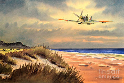 Spitfire Mk9 - Over South Coast England Art Print by Bill Holkham