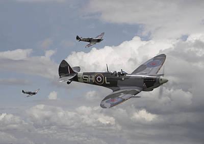 Skyscape Digital Art - Spitfire - On Patrol by Pat Speirs