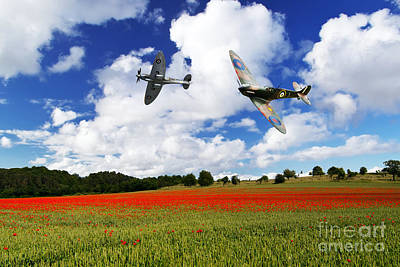 Poppies Field Digital Art - Spitfire Poppy Fly Past  by J Biggadike