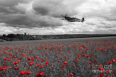 Remembrance Digital Art - Spitfire Red  by J Biggadike