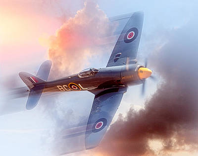 Art Print featuring the photograph Hawker Sea Fury by Steve Benefiel