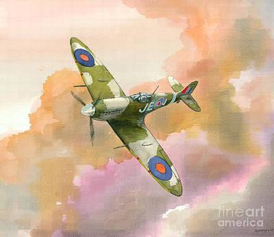 Raf Painting - Spitfire Study by Michael Swanson