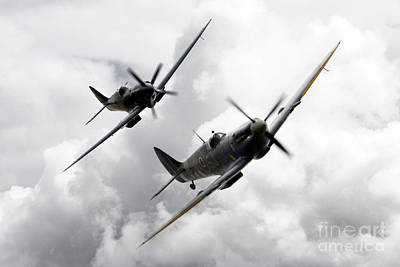 Amy Weiss - Spitfire Tail Chase  by Airpower Art