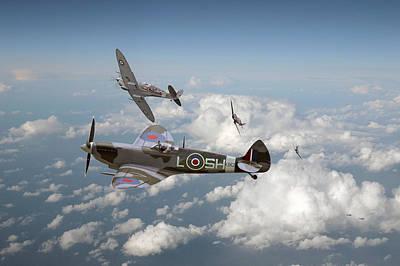 Luftwaffe Digital Art - Spitfire - Tally Ho by Pat Speirs