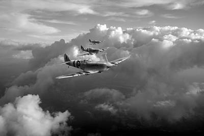 Photograph - Spitfires Among Clouds Black And White Version by Gary Eason